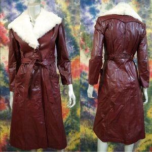VTG 70s Penny Lane Leather Belted Coat Fur Collar